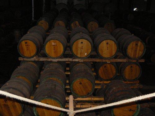 Hala s obrovským množstvím dubových sudků s whisky