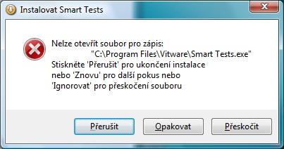 Okno o chybě v instalaci - klikněte na tlačítko znovu, které tu není