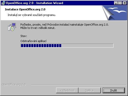 Okno instalace programu OpenOffice, stav - Odstraňování aplikací