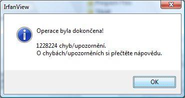 Operace byla dokončena 1228224 chyb/upozornění